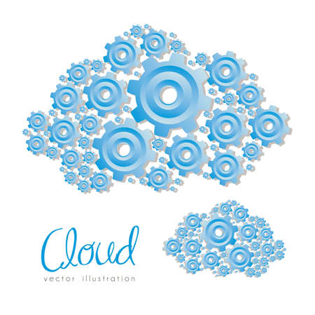 formed: illustration of clouds formed with blue gear, vector illustration