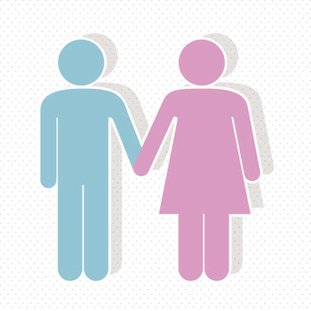 illustration of a couple in 3d, vector illustration Vector