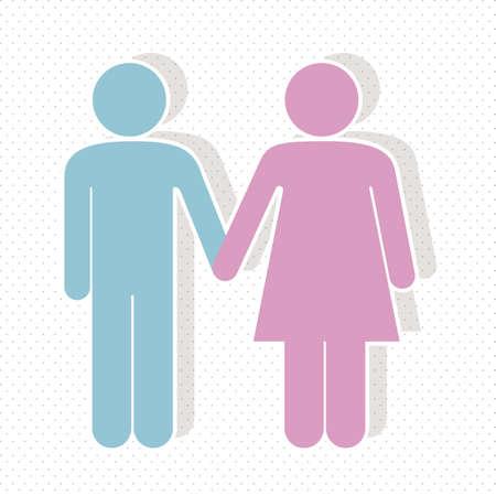 ni�os sosteniendo un cartel: ilustraci�n de una pareja en 3d, ilustraci�n vectorial Vectores