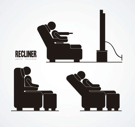 man watching tv: Illustration of silhouettes of humans in everyday activities, vector illustration