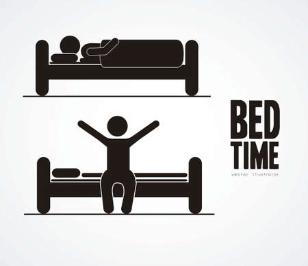 lying on bed: Illustration of silhouettes of humans in everyday activities, vector illustration