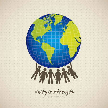 illustration of people united by holding the planet earth, vector illustration Vector