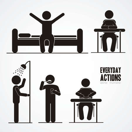 crouch: Illustration of silhouettes of humans in everyday activities, vector illustration