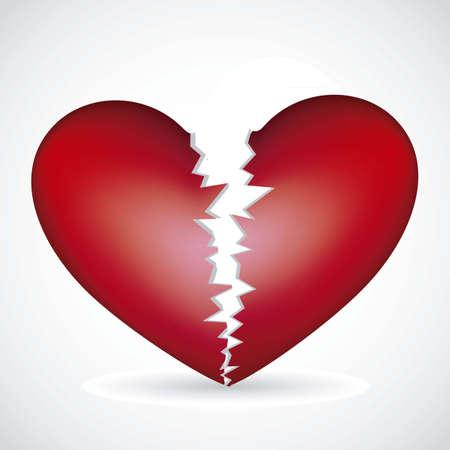 illustratie van een gebroken hart, geïsoleerd op witte achtergrond, vector illustratie Vector Illustratie