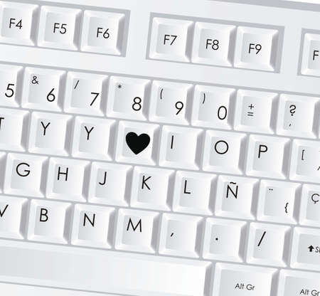 illustration of computer keyboard with lit heart icon, vector illustration