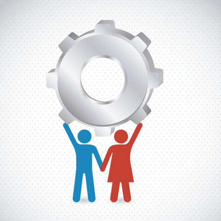 Couple holding a big gear, marriage, vector illustration Stock Vector - 15271616