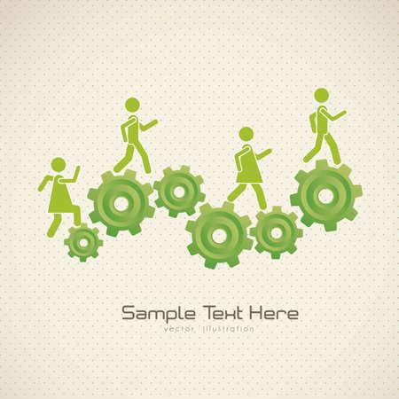 teamleider: Illustratie van tandwielen vormen een berg, vector illustration Stock Illustratie