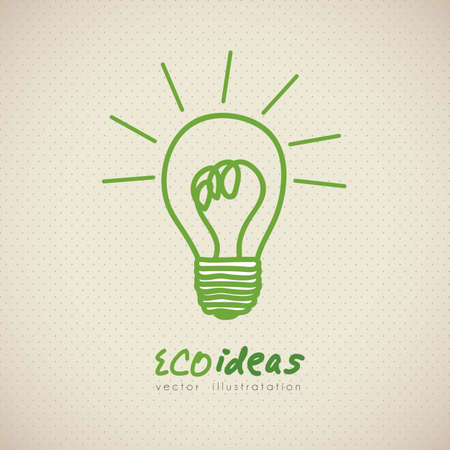 filament: sketch of green light bulb, ecological concept, vector illustration