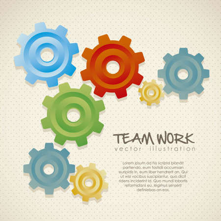 illustration of color gears on beige background,  vector illustration