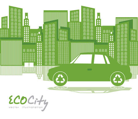 Illustration of green city with  car, ecological concept, vector illustration Vector
