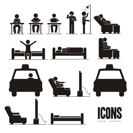 flex: Illustration of silhouettes of humans in everyday activities, vector illustration