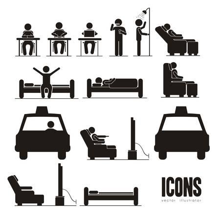 im bett liegen: Illustration von Silhouetten von Menschen in allt�glichen Aktivit�ten, Vektor-Illustration Illustration
