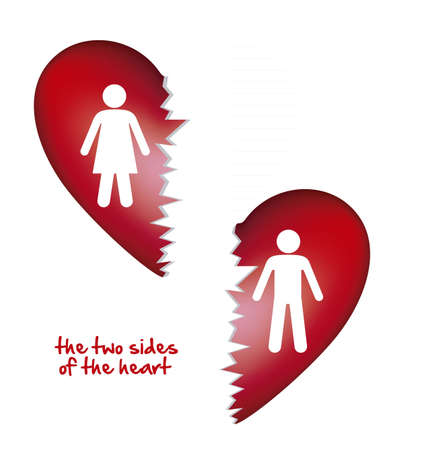 heart pain: illustration of a broken heart, isolated on white background, vector illustration