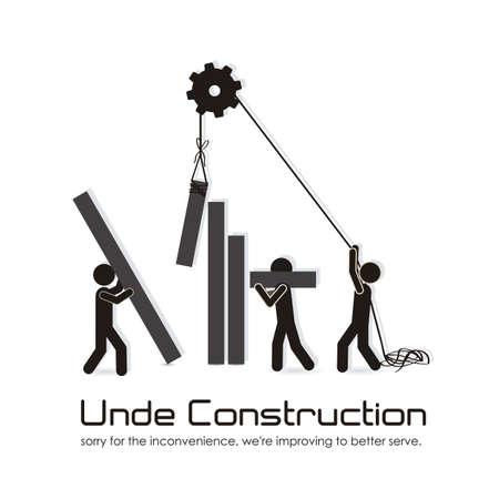 construction management: in fase di costruzione, la costruzione di bar con sagome, illustrazione vettoriale