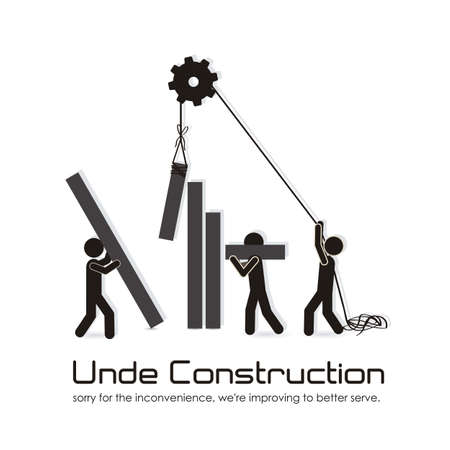 under construction sign: under construction, building with bars silhouettes, vector illustration Illustration
