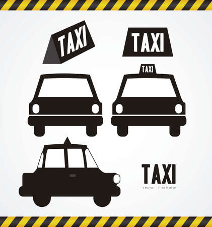 taxi silhouette isolated on white background, vector illustration Vector