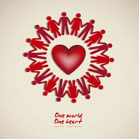 illustration of people in the world united in love, vector illustration Stock Vector - 15271775