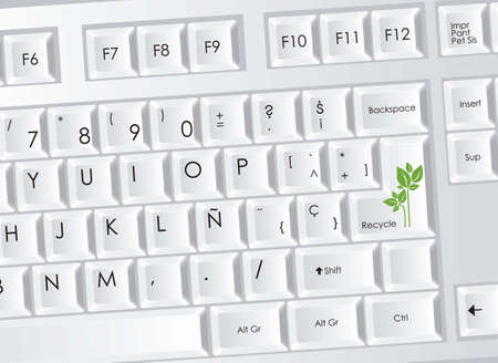 illustration of computer keyboard with eco plant icon, vector illustration Vector