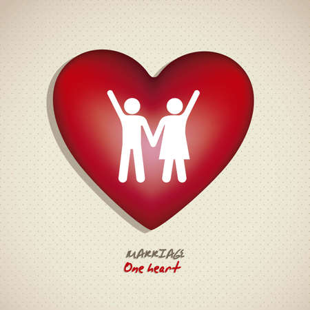 Illustration of a couple holding hands on a heart, working for marriage, vector illustration Vector