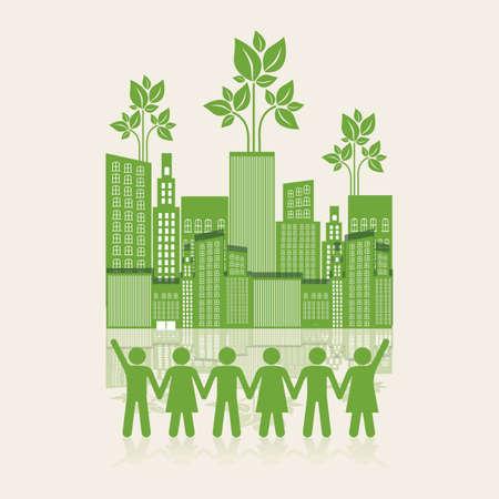 Illustratie van een ecologische stad met silhouetten van mensen hand in hand, concept werk voor de stad, vectorillustratie