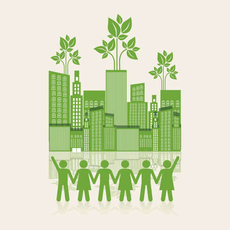Illustration of an ecological city with silhouettes of people holding hands, concept work for the city, vector illustration
