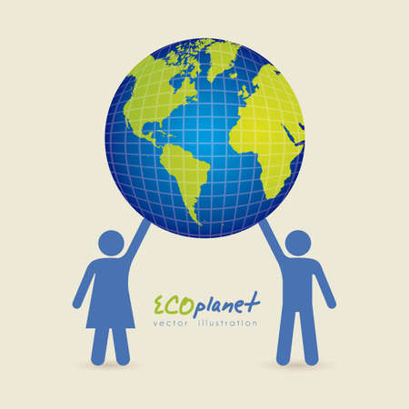silhouettes of people holding the planet, concept work for the world, vector illustration Stock Vector - 15271618