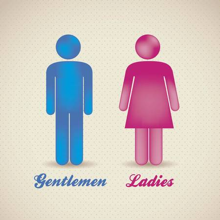 bathroom sign: illustration of lady and gentleman, vector illustration