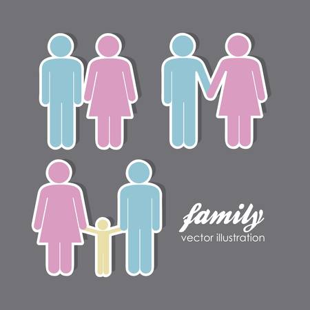 chamber: illustration of lady and gentleman, family with kids, vector illustration Illustration