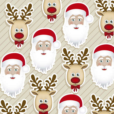 wrapping animal: Illustration of pattern of Christmas characters, wrapping paper, vector illustration