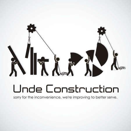 alianza: en construcci�n, edificio con siluetas bares, ilustraci�n vectorial
