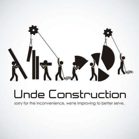 under construction sign with man: under construction, building with bars silhouettes, vector illustration Illustration