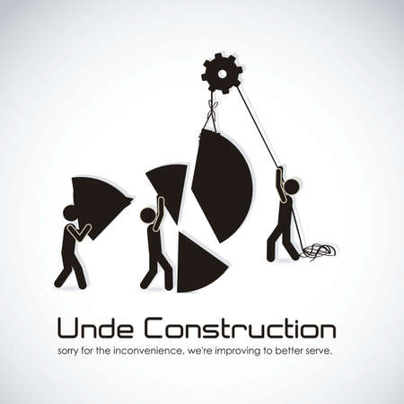 construction management: under construction, building with bars silhouettes, vector illustration Illustration