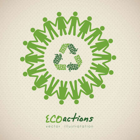 illustration of ecological icon around people, vector illustration Vector