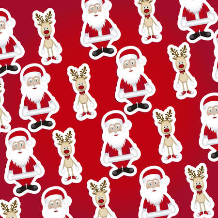 Illustration of pattern of Christmas characters, wrapping paper, vector illustration Stock Vector - 15271955