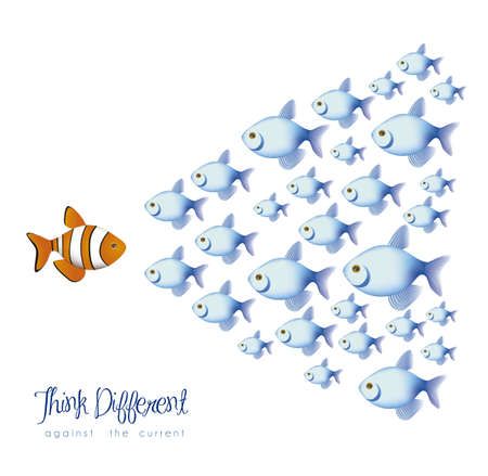 different shapes: illustration of many fish, think differently, against a current, vector illustration Illustration