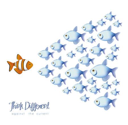 different shapes: illustrazione di molti pesci, pensare in modo diverso, a fronte di una corrente, illustrazione vettoriale Vettoriali
