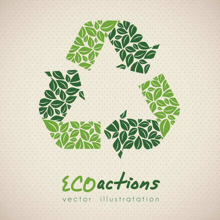 illustration of ecological icon on dottes background, vector illustration Vector