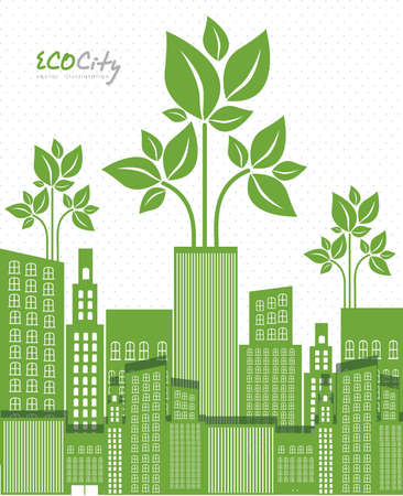 Illustration of an ecological city, vector illustration  Vector