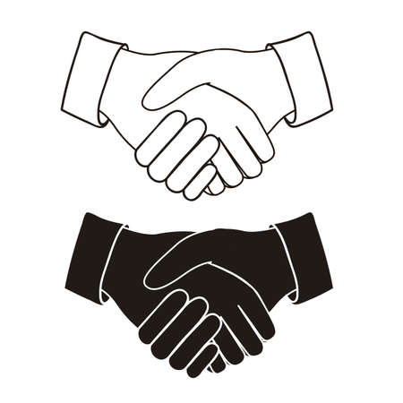 congratulating: Illustration of handshake isolated on white background, vector illustration