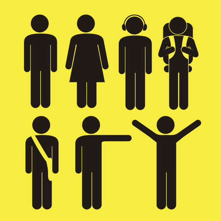 one on one: Illustration human silhouettes be performing several actions, vector illustration Illustration