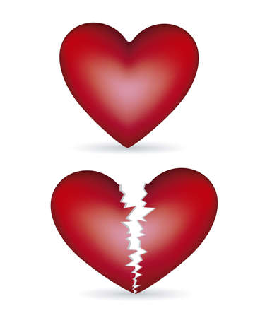 heart pain: Illustration of heart and broken heart, isolated background, vector illustration