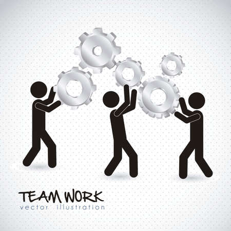 team worker: Illustration of silhouettes with gears, team work, Vector Illustration