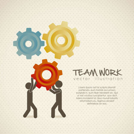 working model: Illustration of silhouettes with gears, team work, Vector Illustration