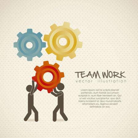 colaboracion: Ilustraci�n de siluetas con engranajes, trabajo en equipo, ilustraci�n vectorial, Vectores