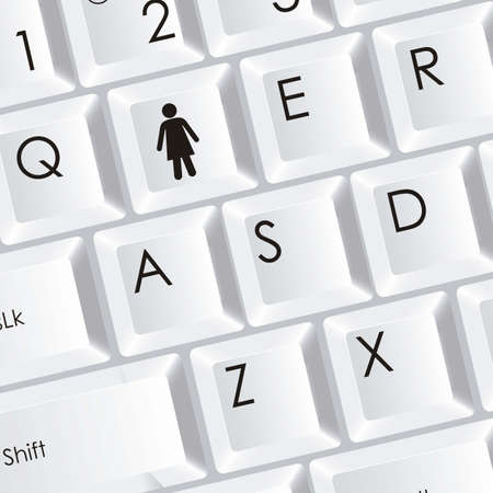 illustration of computer keyboard with woman icon, vector illustration Stock Vector - 15271543