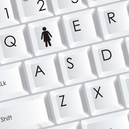 ilustraci�n del teclado del ordenador con el icono de mujer, ilustraci�n vectorial Foto de archivo - 15271543