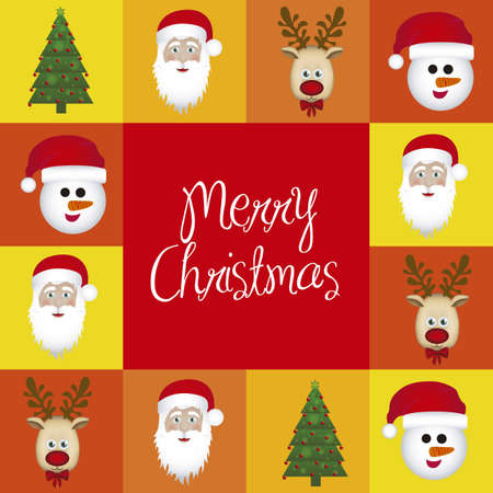 Illustration of Christmas characters in colored squares, vector illustration Vector