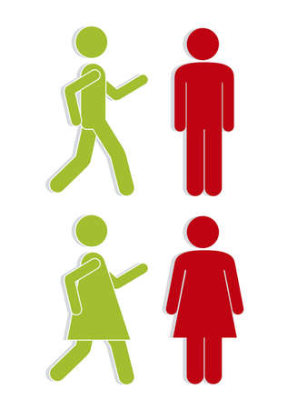 restroom sign: Illustration of silhouettes of man and woman in red and green, signaling, vector illustration Illustration