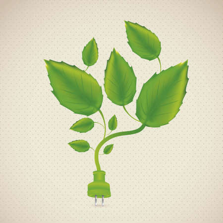 Illustration of ecological plug, with leaves and plants, vector illustration Vector