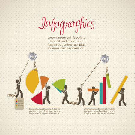 gráfico: Infografia, prédio com bares silhuetas, ilustração vetorial Ilustração